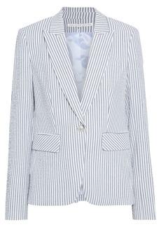 Veronica Beard Woman Cutaway Dickey Striped Cotton-blend Seersucker Blazer Gray