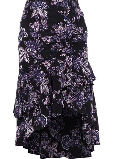 Veronica Beard Woman Dane Asymmetric Tiered Floral-print Silk Skirt Black