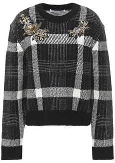 Veronica Beard Woman Deana Embellished Checked Brushed Jacquard-knit Sweater Black