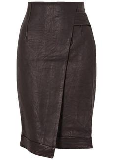 Veronica Beard Woman Delilah Asymmetric Wrap-effect Leather Skirt Black