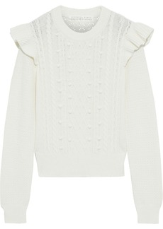 Veronica Beard Woman Earl Ruffled Cable-knit Cotton-blend Sweater Ivory