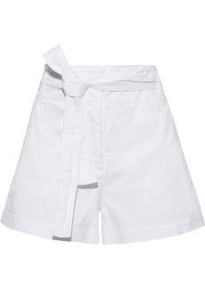 Veronica Beard Woman East Belted Cotton-blend Twill Shorts White