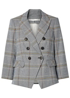 Veronica Beard Woman Empire Double-breasted Prince Of Wales Checked Cotton-blend Blazer Light Blue
