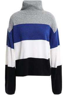 Veronica Beard Woman Faber Color-block Cashmere Turtleneck Sweater Gray