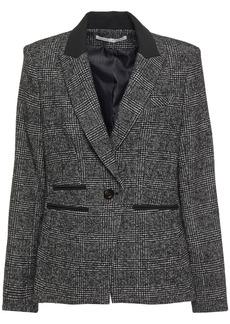 Veronica Beard Woman Gia Crepe-trimmed Prince Of Wales Checked Jacquard Blazer Black