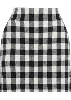Veronica Beard Woman Gingham Bouclé-knit Cotton-blend Mini Skirt Black