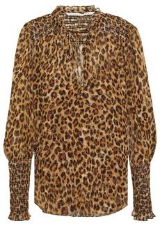 Veronica Beard Woman Jaz Shirred Leopard-print Silk-georgette Blouse Animal Print