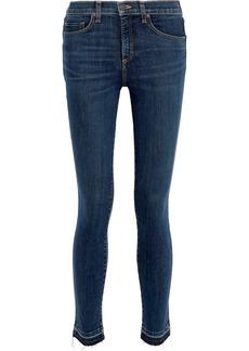 Veronica Beard Woman Kate 10 Distressed Mid-rise Skinny Jeans Dark Denim