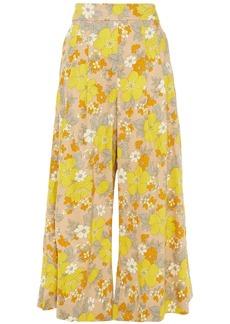 Veronica Beard Woman Leonore Cropped Floral-print Linen-blend Wide-leg Pants Yellow