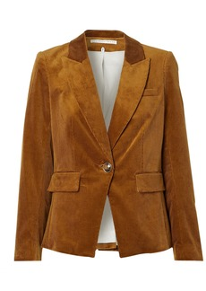 Veronica Beard Woman Lia Suede-appliquéd Cotton-blend Corduroy Blazer Light Brown