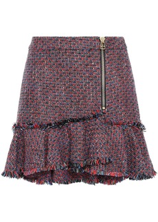 Veronica Beard Woman Zip-detailed Frayed Tweed Mini Skirt Brick