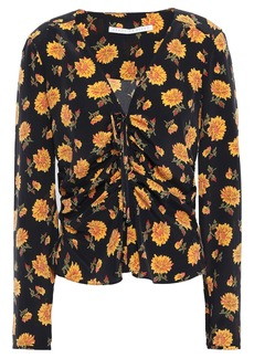 Veronica Beard Woman Maisle Ruched Floral-print Silk Crepe De Chine Blouse Marigold