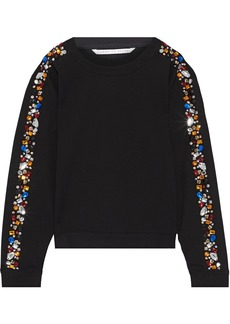 Veronica Beard Woman Marci Embellished Stretch-jersey Sweatshirt Black