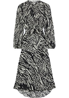 Veronica Beard Woman Mavis Belted Printed Silk-chiffon Midi Dress Black