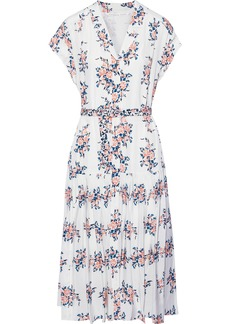 Veronica Beard Woman Meagan Belted Floral-print Silk Crepe De Chine Dress White