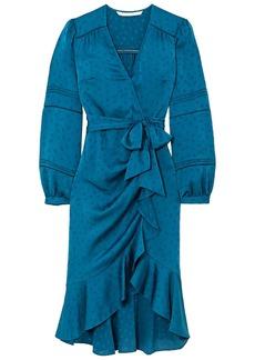 Veronica Beard Woman Miriam Wrap-effect Ruffled Satin-jacquard Midi Dress Petrol