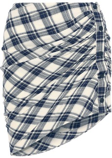Veronica Beard Woman Murphy Gathered Checked Jacquard Mini Skirt Navy