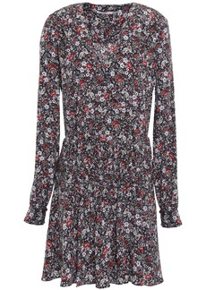 Veronica Beard Woman Naomi Floral-print Stretch-silk Crepe De Chine Mini Dress Black