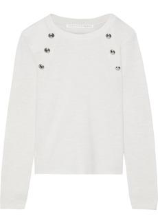 Veronica Beard Woman Pearson Button-embellished Merino Wool Sweater Ivory