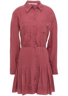 Veronica Beard Woman Currant Pintucked Silk-jacquard Mini Shirt Dress Antique Rose
