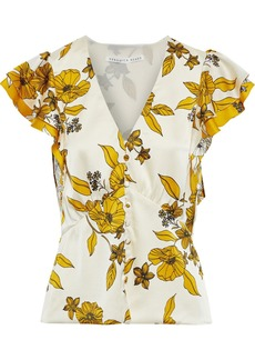 Veronica Beard Woman Polly Ruffled Floral-print Silk-blend Satin Top Ivory