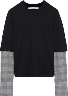 Veronica Beard Woman Houndstooth Woven-paneled Wool Top Black