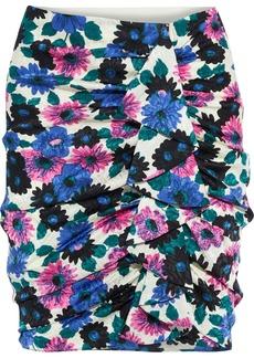 Veronica Beard Woman Ravello Ruched Floral-print Silk-blend Satin-jacquard Mini Skirt Ivory