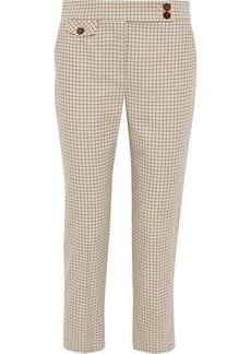 Veronica Beard Woman Renzo Cropped Checked Cotton-blend Slim-leg Pants White