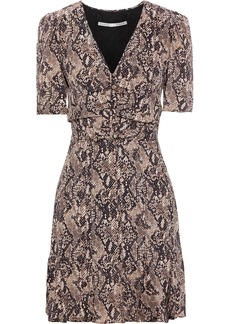 Veronica Beard Woman Ried Button-detailed Snake-print Silk-crepe Mini Dress Animal Print