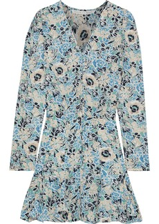 Veronica Beard Woman Riggins Ruffled Floral-print Silk-chiffon Mini Dress Light Blue