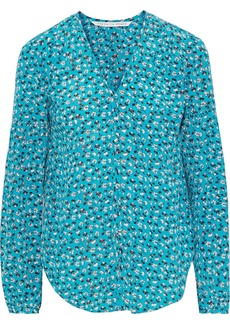 Veronica Beard Woman Roca Floral-print Silk Blouse Turquoise