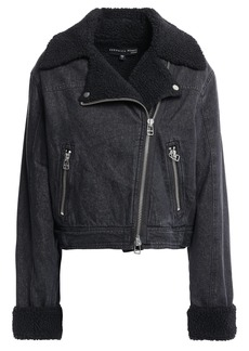Veronica Beard Woman Rosina Faux Shearling-lined Denim Biker Jacket Black