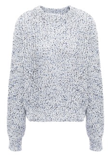 Veronica Beard Woman Ryce Marled Open-knit Cotton Sweater Sky Blue