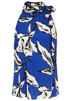 Veronica Beard Woman Sela Tie-neck Printed Silk-blend Jacquard Top Blue