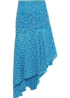 Veronica Beard Woman Sevilla Asymmetric Floral-print Silk-georgette Skirt Turquoise