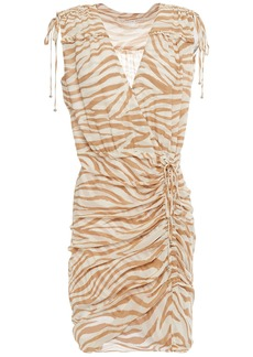Veronica Beard Woman Soheyla Ruched Tiger-print Silk-georgette Mini Dress Ivory