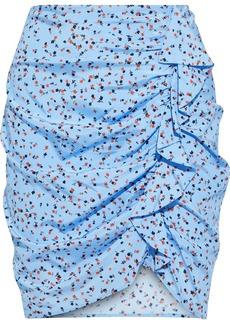 Veronica Beard Woman Spencer Ruffled Floral-print Stretch-silk Mini Skirt Light Blue
