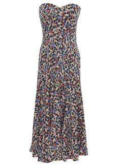 Veronica Beard Woman Strapless Floral-print Stretch-silk Midi Dress Black