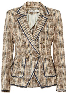 Veronica Beard Woman Theron Double-breasted Checked Bouclé-tweed Blazer Light Brown