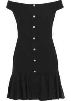 Veronica Beard Woman Winnie Off-the-shoulder Cotton-blend Jacquard Mini Dress Black