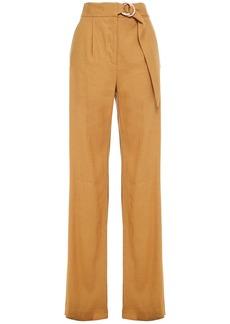 Veronica Beard Woman Woode Belted Linen-blend Wide-leg Pants Camel