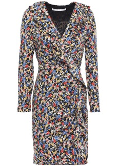 Veronica Beard Woman Minna Wrap-effect Floral-print Stretch-silk Satin-jacquard Mini Dress Black