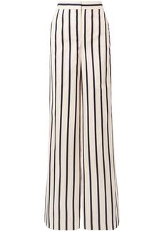 Veronica Beard Woman Xena Metallic Striped Cotton-canvas Wide-leg Pants Cream