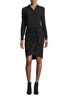 Veronica Beard Wren Long-Sleeve Twist-Skirt Shirtdress
