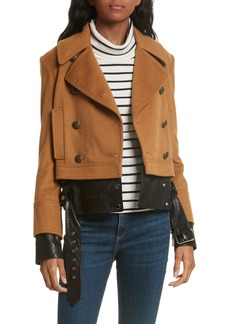 Veronica Beard Yara Leather Hem Peacoat