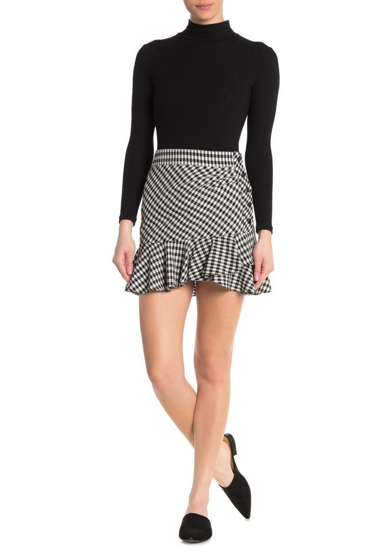 Veronica Beard Villa Gingham Ruffle Hem Mini Skirt