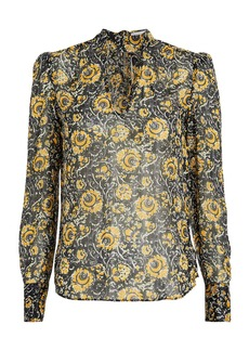 Veronica Beard Wade Floral Tie Neck Blouse