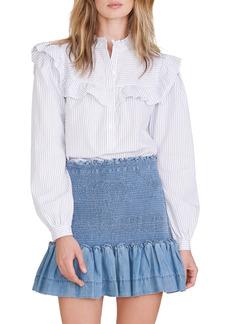 Women's Veronica Beard Aloya Smocked Chambray Miniskirt