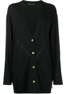 Versace oversized safety pin V-neck cardigan