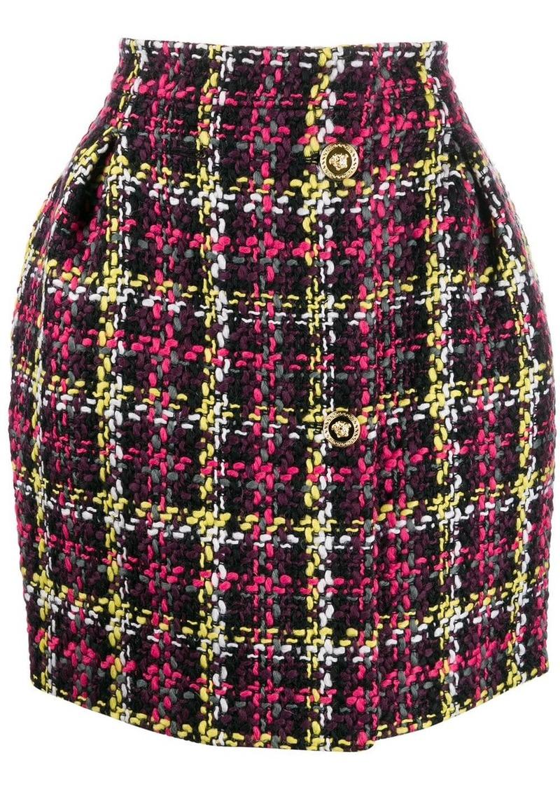 Versace woven checked mini skirt